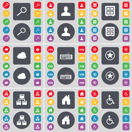 bedtable: Magnifying glass, Avatar, Bed-table, Cloud, Keyboard, Star, Network, House, Disabled person icon symbol. A large set of flat, colored buttons for your design. illustration