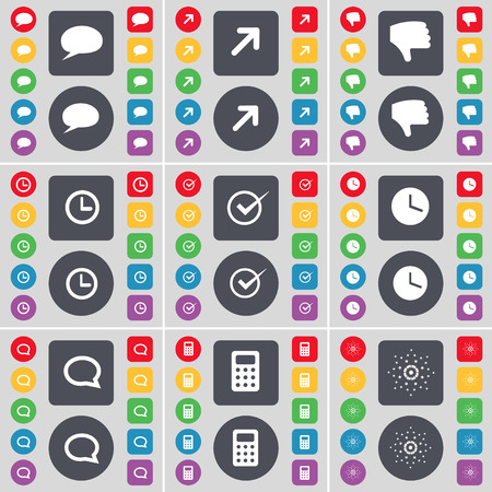 full screen: Chat bubble, Full screen, Dislike, Clock, Tick, Clock, Chat bubble, Mobile, Star icon symbol. A large set of flat, colored buttons for your design. illustration Stock Photo