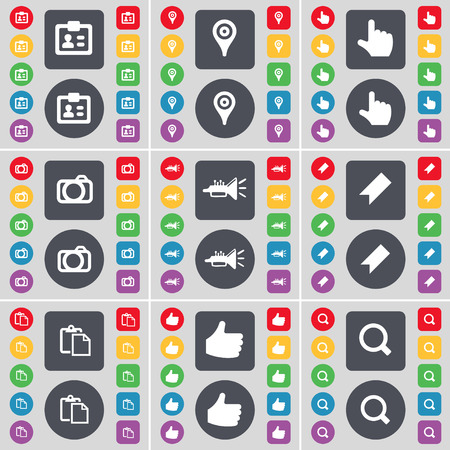 magnifying glass icon: Contact, Checkpoint, Hand, Camera, Trumped, Marker, Survey, Like, Magnifying glass icon symbol. A large set of flat, colored buttons for your design. illustration Stock Photo
