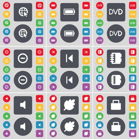 skip: Web cursor, Battery, DVD, Minus, Media skip, Notebook, Sound, Leaf, Lock icon symbol. A large set of flat, colored buttons for your design. illustration