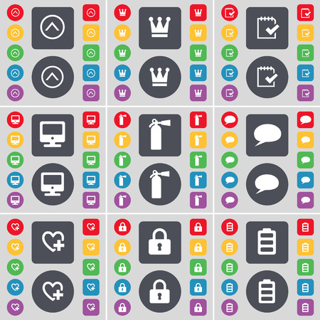chat up: Arrow up, Crown, Survey, Monitor, Fire extinguisher, Chat bubble, Heart, Lock, Battery icon symbol. A large set of flat, colored buttons for your design. illustration Stock Photo