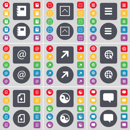 chat bubble icon: Notebook, Arrow up, Apps, Mail, Full screen, Web cursor, Download file, Yin-Yang, Chat bubble icon symbol. A large set of flat, colored buttons for your design. illustration