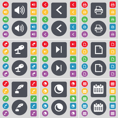 ink pot: Sound, Arrow left, Printer, Microphone, Media skip, File, Ink pot, Moon, Calendar icon symbol. A large set of flat, colored buttons for your design. illustration