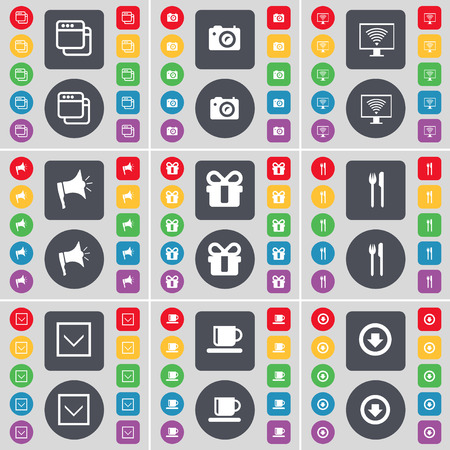 arrow down: Window, Camera, Monitor, Megaphone, Gift, Fork and knife, Arrow down, Cup, Arrow down icon symbol. A large set of flat, colored buttons for your design. illustration