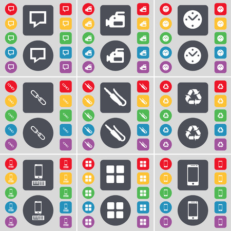 smartphone apps: Chat bubble, Film camera, Clock, Link, Microphone connector, Recycling, Smartphone, Apps icon symbol. A large set of flat, colored buttons for your design. illustration