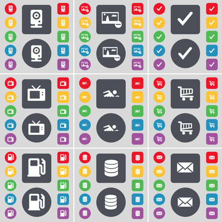 retro tv: Speaker, Picture, Tick, Retro TV, Swimmer, Shopping cart, Gas station, Database, Message icon symbol. A large set of flat, colored buttons for your design. illustration Stock Photo