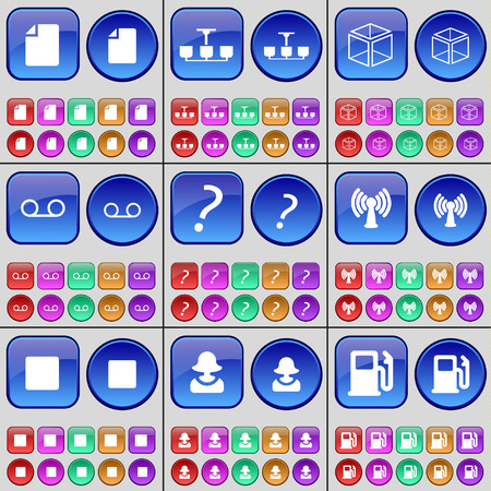 file box: File, Chandelier, Box, Cassette, Question mark, Wi-Fi, Media stop, Avatar, Gas station. A large set of multi-colored buttons. illustration Stock Photo