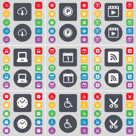 disabled person: Cloud, Parking, Media player, Laptop, Calendar, RSS, Clock, Disabled person, Scissors icon symbol. A large set of flat, colored buttons for your design. illustration