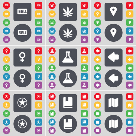 venus symbol: Sell, Marijuana, Checkpoint, Venus symbol, Flask, Arrow left, Star, Dictionary, Map icon symbol. A large set of flat, colored buttons for your design. illustration