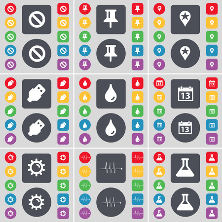 checkpoint: Stop, Pin, Checkpoint, USB, Drop, Calendar, Gear, Pulse, Flask icon symbol. A large set of flat, colored buttons for your design. illustration