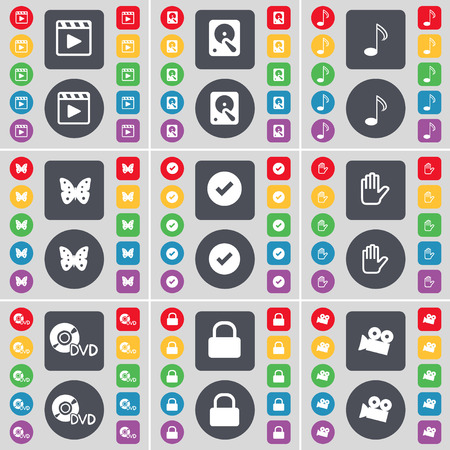 media player: Media player, Hard drive, Note, Butterfly, Tick, Hand, DVD, Lock, Film camera icon symbol. A large set of flat, colored buttons for your design. illustration