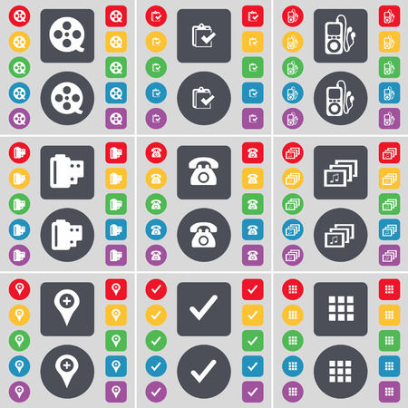 mp3 player: Videotape, Survey, MP3 player, Negative films, Retro phone, Gallery, Checkpoint, Tick, Apps icon symbol. A large set of flat, colored buttons for your design. illustration