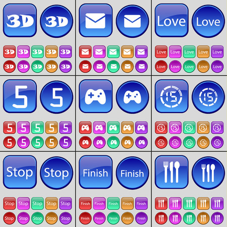 countdown: 3D, Message, Love, Five, Gamepad, Countdown, Stop, Finish, Cutlery. A large set of multi-colored buttons. illustration