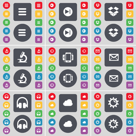 dropbox: Apps, Media skip, Dropbox, Microscope, Smartphone, Message, Headphones, Cloud, Gear icon symbol. A large set of flat, colored buttons for your design. illustration