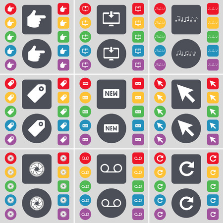 casette: Hand, Monitor, Note, Tag, New, Cursor, Lens, Casette, Reload icon symbol. A large set of flat, colored buttons for your design. illustration