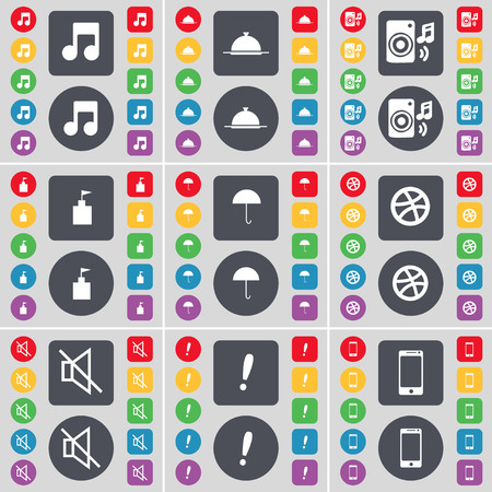 note of exclamation: Note, Tray, Speaker, Flag tower, Umbrella, Ball, Mute, Exclamation mark, Smartphone icon symbol. A large set of flat, colored buttons for your design. illustration Stock Photo