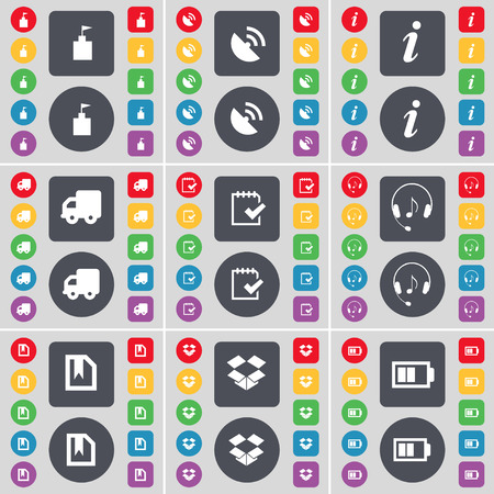 file box: Flag tower, Satellite dish, Information, Truck, Tick, Headphones, File, Box, Battery icon symbol. A large set of flat, colored buttons for your design. illustration