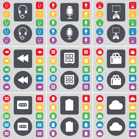 bedtable: Headphones, Microphone, Game console, Rewind, Bed-table, Shopping bag, Cassette, Battery, Cloud icon symbol. A large set of flat, colored buttons for your design. illustration