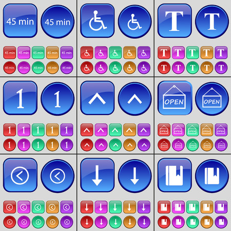 disabled person: 45 minutes, Disabled person, Font, One, Arrow up, Open, Arrow left, Arrow down, Notebook. A large set of multi-colored buttons. illustration