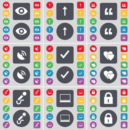 lock up: Vision, Arrow up, Quotation mark, Tick, Heart, Microphone, Laptop, Lock icon symbol. A large set of flat, colored buttons for your design. illustration
