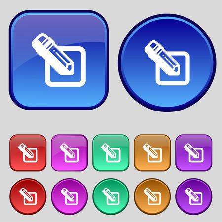 secretarial: pencil icon sign. A set of twelve vintage buttons for your design. illustration