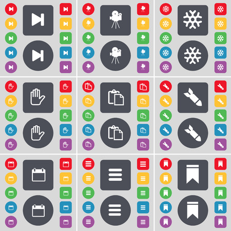 skip: Media skip, Film camera, Snowflake, Hand, Survey, Rocket, Calendar, Apps, Marker icon symbol. A large set of flat, colored buttons for your design. illustration