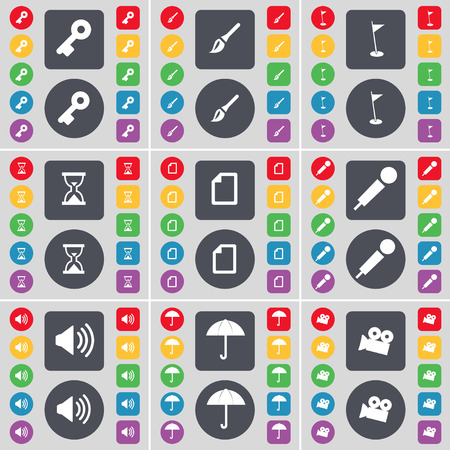 key hole: Key, Brush, Golf hole, Hourglass, File, Microphone, Sound, Umbrella, Film camera icon symbol. A large set of flat, colored buttons for your design. illustration