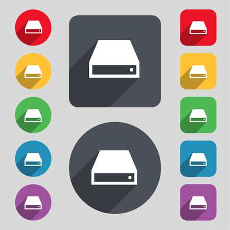 rom: CD-ROM icon sign. A set of 12 colored buttons and a long shadow. Flat design. illustration Stock Photo
