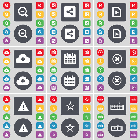 file share: Magnifying glass, Share, Media file, Cloud, Calendar, Stop, Warning, Star, Keyboard icon symbol. A large set of flat, colored buttons for your design. illustration Stock Photo