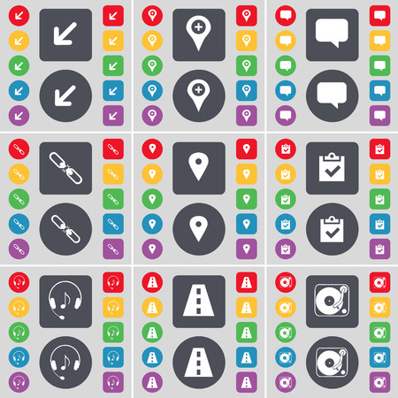 checkpoint: Deploying screen, Checkpoint, Chat bubble, Link, Survey, Headphones, Road, Gramophone icon symbol. A large set of flat, colored buttons for your design. illustration
