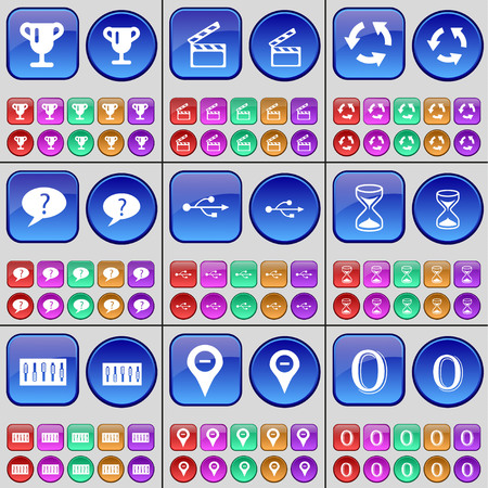 checkpoint: Cup, Clapper, Recycling, Chat bubble, USB, Hourglass, Equalizer, Checkpoint, Zero. A large set of multi-colored buttons. illustration Stock Photo