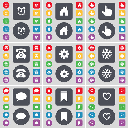 heart gear: Alarm clock, House, Hand, Retro phone, Gear, Snowflake, Chat bubble, Marker, Heart icon symbol. A large set of flat, colored buttons for your design. illustration