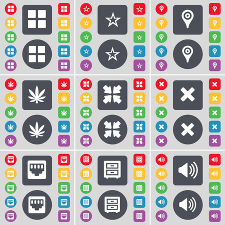 bedtable: Apps, Star, Checkpoint, Marijuana, Deploying screen, Stop, LAN socket, Bed-table, Sound icon symbol. A large set of flat, colored buttons for your design. illustration Stock Photo