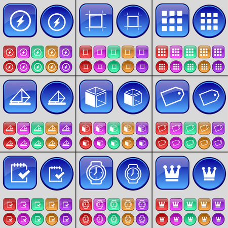 message box: Flash, Frame, Apps, Message, Box, Tag, Survey, Wrist watch, Crown. A large set of multi-colored buttons. illustration