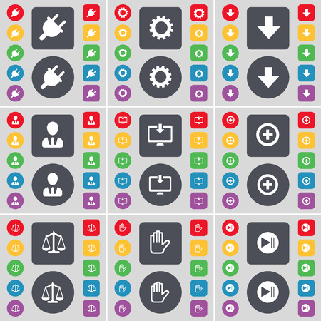 skip: Socket, Gear, Arrow down, Avatar, Monitor, Plus, Scales, Hand, Media skip icon symbol. A large set of flat, colored buttons for your design. illustration Stock Photo