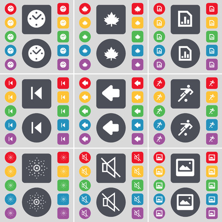 skip: Clock, Maple leaf, Diagram file, Media skip, Arrow left, Silhouette, Star, Mute, Window icon symbol. A large set of flat, colored buttons for your design. illustration