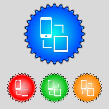 data synchronization: Synchronization sign icon. communicators sync symbol. Data exchange. Set colur buttons illustration