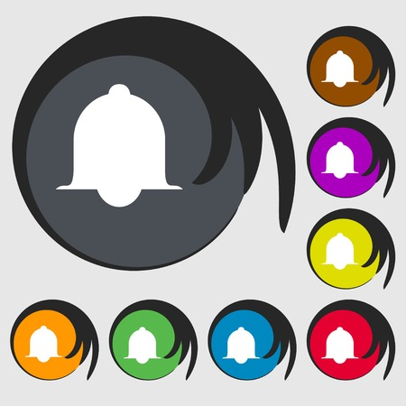 wake up call: Alarm bell sign icon. Wake up alarm symbol. Speech bubbles information icons.. Symbols on eight colored buttons. illustration