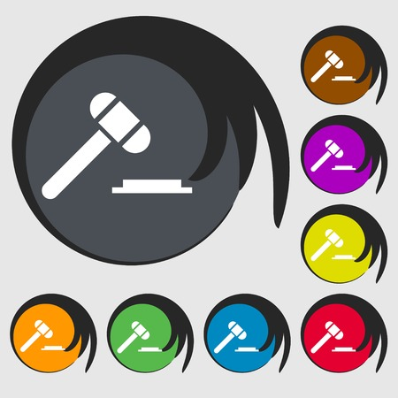 arbitrate: judge hammer icon. Symbols on eight colored buttons. illustration