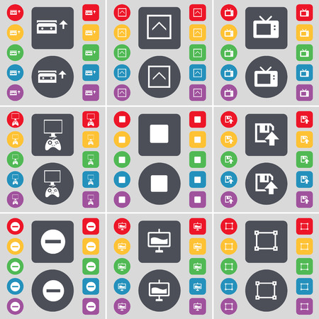 game console: Cassette, Arrow up, Retro TV, Game console, Media stop, Floppy, Minus, Graph, Frame icon symbol. A large set of flat, colored buttons for your design. illustration
