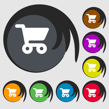 shopping basket: shopping basket icon sign. Symbol on eight colored buttons. illustration