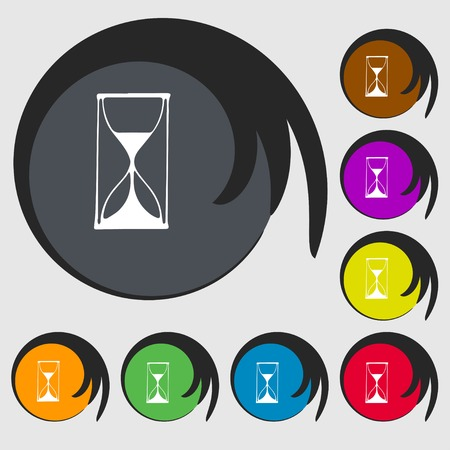 sand timer: Hourglass sign icon. Sand timer symbol. Symbols on eight colored buttons. illustration Stock Photo
