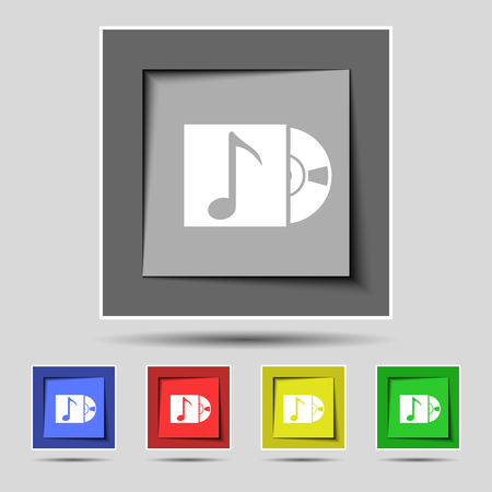 cd player: cd player icon sign on the original five colored buttons. illustration