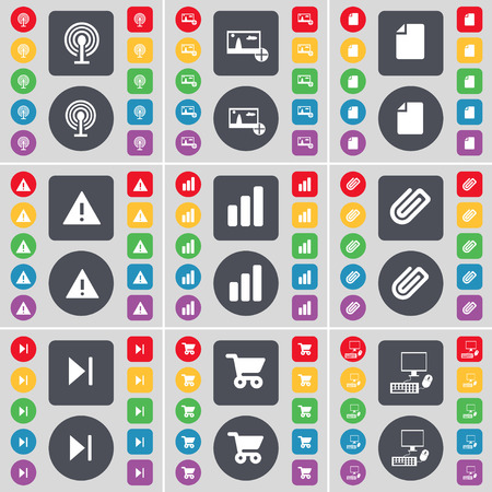 skip: Wi-Fi, Picture, File, Warning, Diagram, Clip, Media skip, Shopping cart, PC icon symbol. A large set of flat, colored buttons for your design. illustration