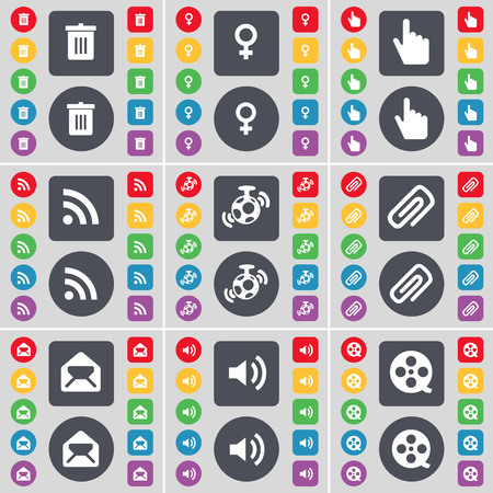 venus symbol: Trash can, Venus symbol, Hand, RSS, Speaker, Clip, Message, Sound, Videotape icon symbol. A large set of flat, colored buttons for your design. illustration Stock Photo