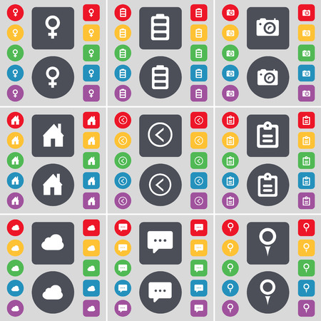venus symbol: Venus symbol, Battery, Camera, House, Arrow left, Survey, Cloud, Chat bubble, Checkpoint icon symbol. A large set of flat, colored buttons for your design. illustration