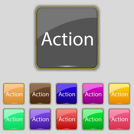 tokens: Action sign icon. Motivation button with arrow. Set of colored buttons. illustration