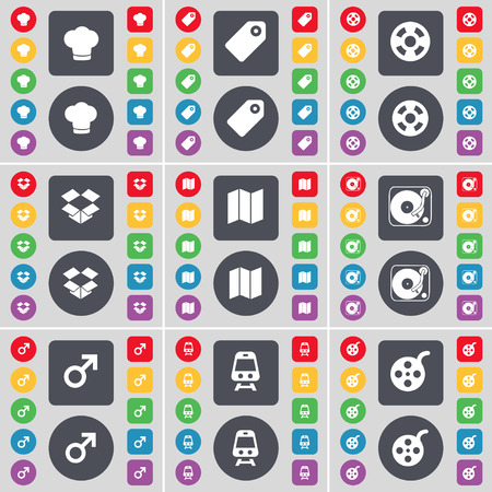 dropbox: Cooking hat, Tag, Videotape, Dropbox, Map, Gramophone, Mars symbol, Train, Videotape icon symbol. A large set of flat, colored buttons for your design. illustration