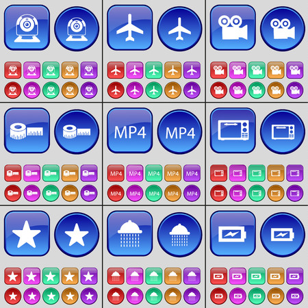 mp4: Webinar, Airplane, Film camera, Tape measure, MP4, Microwave, Star, Shower, Charging. A large set of multi-colored buttons. illustration