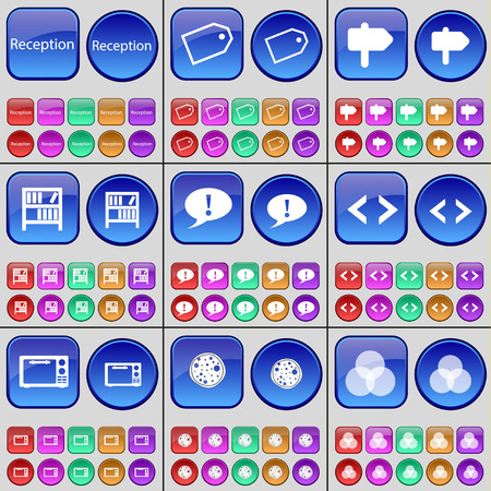 rgb: Reception, Tag, Sign, Bookshelf, Chat bubble, Code, Microwave, Pizza, RGB. A large set of multi-colored buttons. illustration Stock Photo